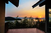 stock photo of chan  - High angle view beautiful lake at sunset from resort in Kaeng Kra Chan National Park Phetchaburi Province Thailand