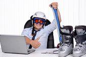 stock photo of hamlet  - Happy smiling business man in ski hamlet and mask - JPG