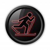 pic of nordic skiing  - Icon Button Pictogram with Cross - JPG