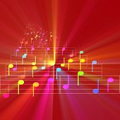 picture of nursery rhyme  - Colorful notes sheet music cheerful musical concept background illustration glowing light - JPG