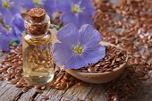 picture of flax seed oil  - flax seeds in a spoon and oil in a bottle on the table close - JPG