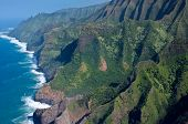 stock photo of na  - The green cliffs of the Na Pali Coast on Hawaii - JPG