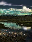 picture of lightning bugs  - depiction of a forest stream with lightning bugs at twilight - JPG