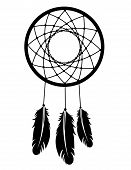 picture of dreamcatcher  - A dreamcatcher silhouette in black with feathers - JPG