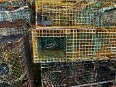 foto of lobster trap  - Lobster traps in fishing village of Rockport Massachusetts - JPG