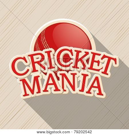 Red ball for Cricket Mania on stylish background.