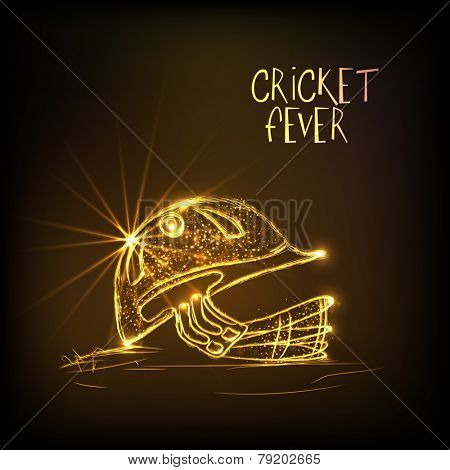 Shiny golden helmet of batsman for Cricket Fever on brown background.
