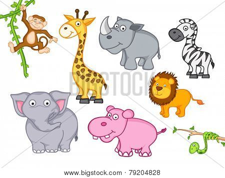 Cute funny animals set including giraffe, zebra, hippo, lion, elephant, snake, monkey and rhinoceros.