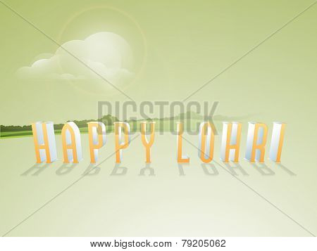 3D text Happy Lohri on nature view background.