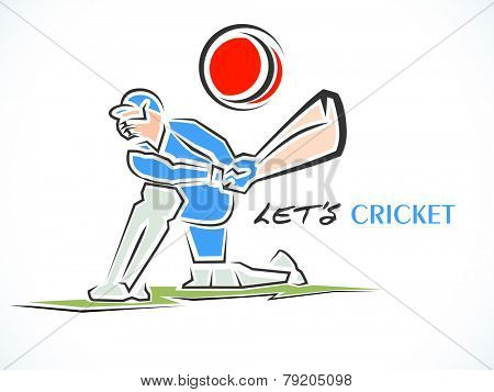 Cricket batsman ready to hit the shot on white background.