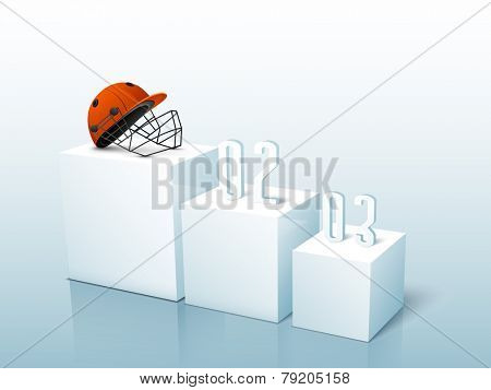 Batsman helmet on first position of winner's podium for Cricket on glossy sky blue background.