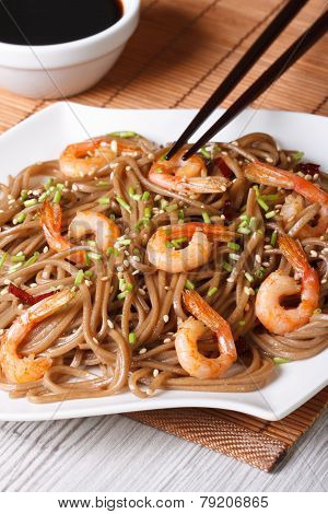 Japanese Buckwheat Soba Noodles With Shrimp Vertical