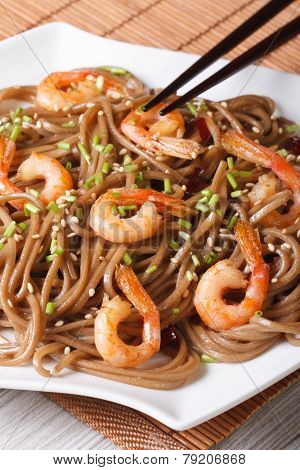 Buckwheat Soba Noodles With Shrimp Vertical