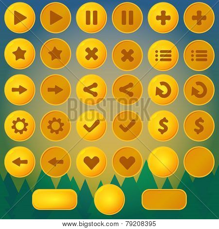 Game menu vector yellow ui buttons
