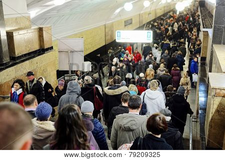 Moscow, Russia, December, 17, 2014: the Moscow metro during peak hour