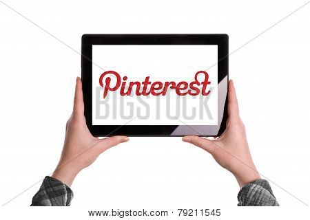Pinterest Logo On Digital Tablet