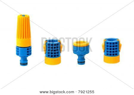 Garden Water Hose Nozzle And Connectors Isolated On White Background