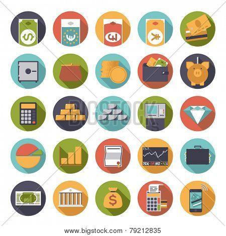 Flat Design Money and Finance Icons Collection. Set of 25 money and finance related icons in circles, flat design.