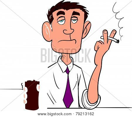 Cartoon man smoking with a beer