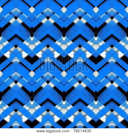 Hand drawn plaid pattern with zigzag lines