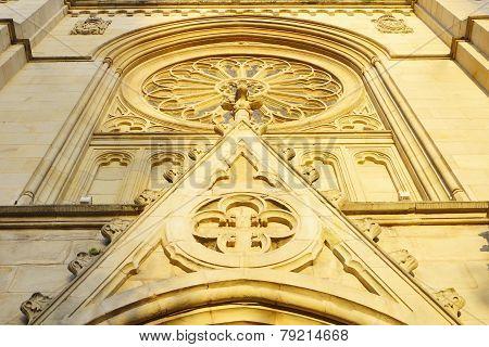 Facade of a church with sunlight