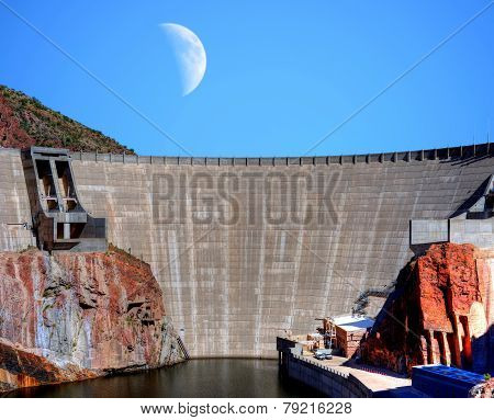 Roosevelt Dam And Moon