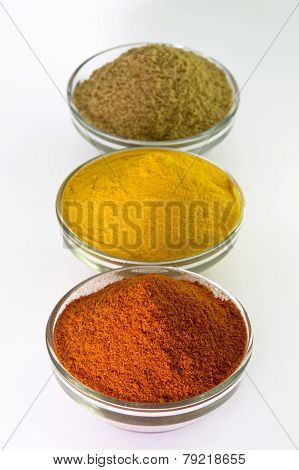 Chili Powder, Turmeric Powder & Coriander powder in Bowl isolated on White.