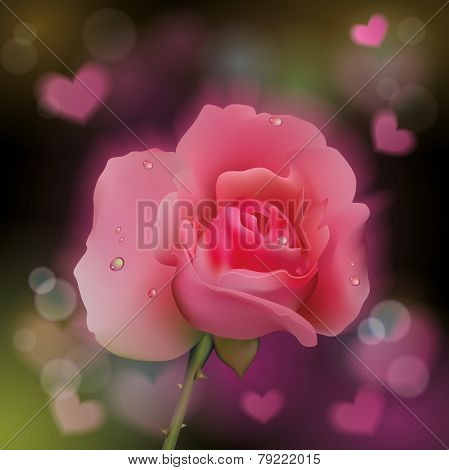 Pink rose on soft background with hearts.