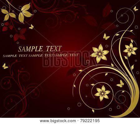 Golden floral vector background