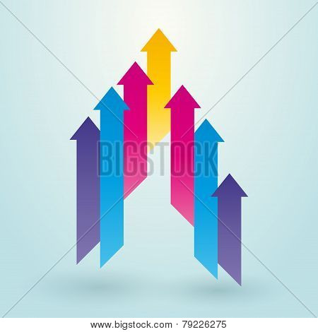 Colored Arrow Pointing Upwards
