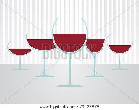 Set Of Simple Full Glasses Of Wine