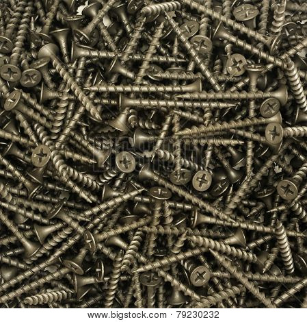 A lot of black drywall screws