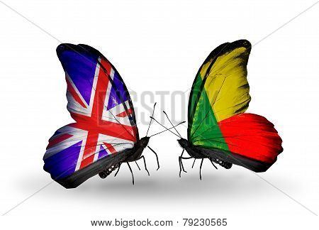 Two Butterflies With Flags On Wings As Symbol Of Relations Uk And Benin