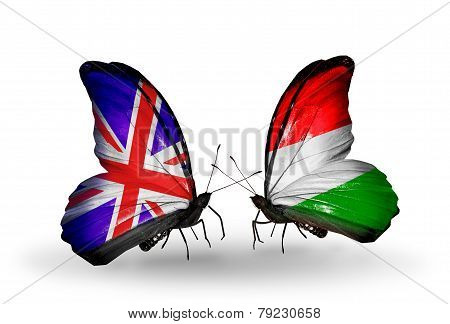 Two Butterflies With Flags On Wings As Symbol Of Relations Uk And Hungary