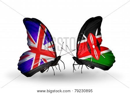 Two Butterflies With Flags On Wings As Symbol Of Relations Uk And Kenia