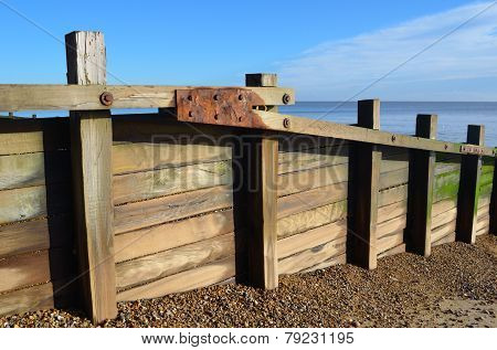 Timber Breakwater on Beach