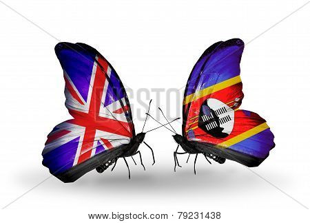 Two Butterflies With Flags On Wings As Symbol Of Relations Uk And Swaziland