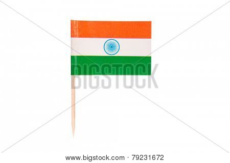 Flag India.Paper Indian flag with clipping path.Isolated on white background