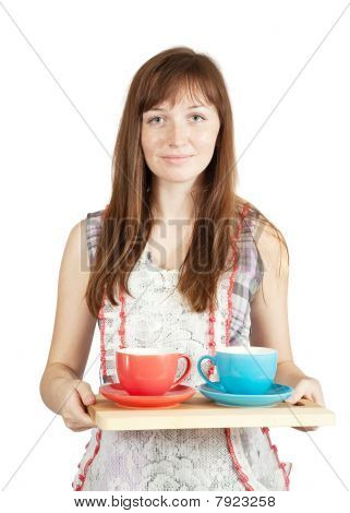 Girl With Set Of Tea Cups