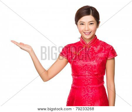 Woman with open hand plam
