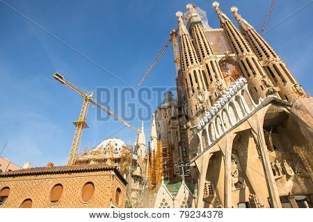 BARCELONA, SPAIN - DEC 23: La Sagrada Familia - the impressive cathedral designed by Gaudi, which is being build since Mar 19, 1882 and is not finished yet.