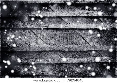 Snow And Stars On The Wooden Background