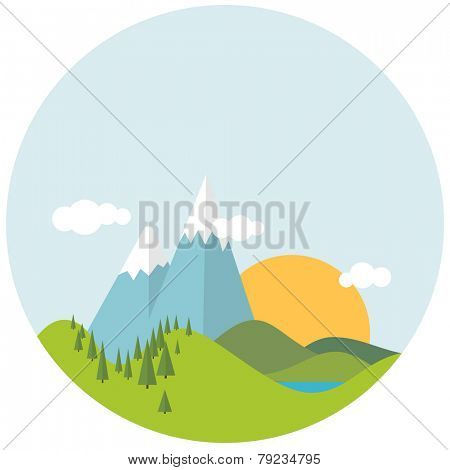 Simple Flat design spring landscape with mountains and trees