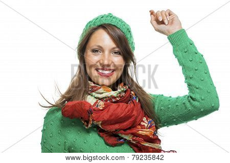 woman portrait in warm clothes