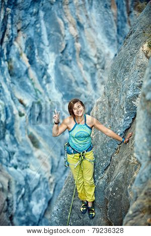 Rock climber on the top