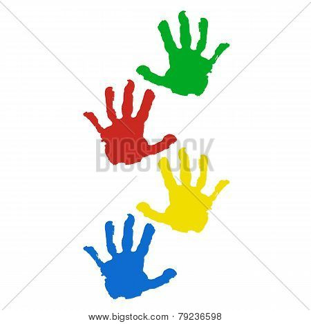 Hand Prints Isolated On White Background