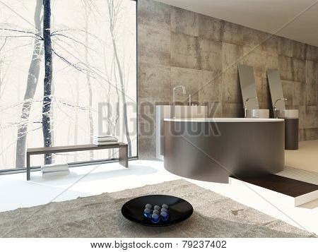 3D Rendering of Modern luxury bathroom interior in beige and brown with a circular freestanding bathtub and matching hand basins against a travertine tiled wall with a large sunny view window