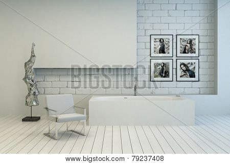 3D Rendering of Modern white bathroom with a recessed brick wall and white painted parquet with an armchair, modern abstract sculpture and artwork on the wall