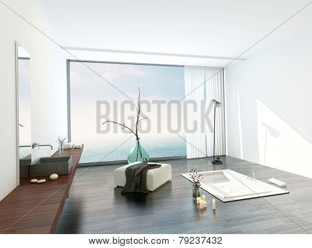 3D Rendering of Modern bright white bathroom interior with a large view window overlooking a stylish sunken bathtub and ottoman with a wall-mounted vanity on the side in a luxury apartment