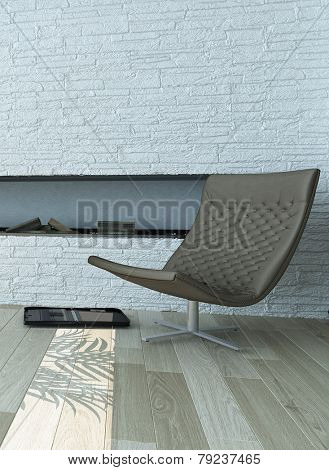 3D Rendering of Gray Lounge Chair Near Stylish Concrete White Wall Inside Architectural House.